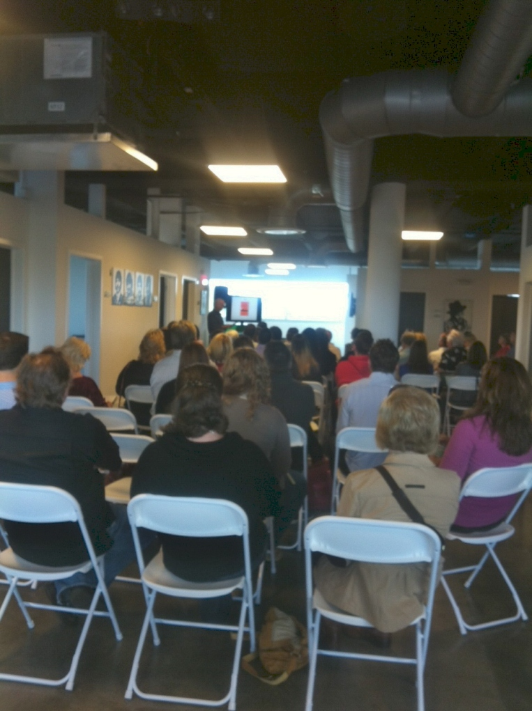 View from one side of the HUB filled room with Marty Kohr.