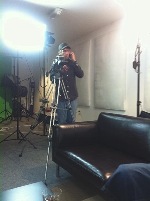 Pete Hansen multi-tasking on set.