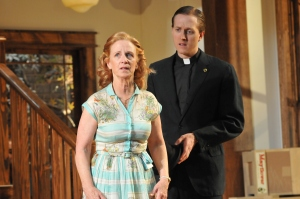 Annabel Armour as Bev and Jesse Dornan as Jim in Act 1. Photo by Barbara Banks.