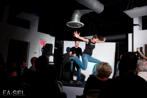Christine Alexander leaping off the stage!  Photo by Stacey Marks of EA•SEL