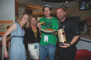 Monday at Clasico testing out the wings with cast of Great Chicken Wing Hunt and Tito's Vodka.