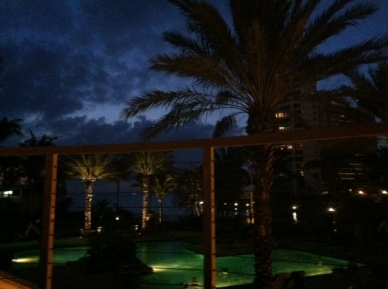 On the patio of Jack Dusty at the Ritz Carlton Sarasota just after sunset.
