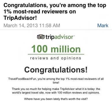Trip Advisor email.. follow me.
