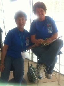 Norine Cohen and Rae Ann Johnson two of many volunteers who will greet you upon arrival.