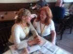 Ann Corcoran and Dayle Hoffmann taking a break between films.