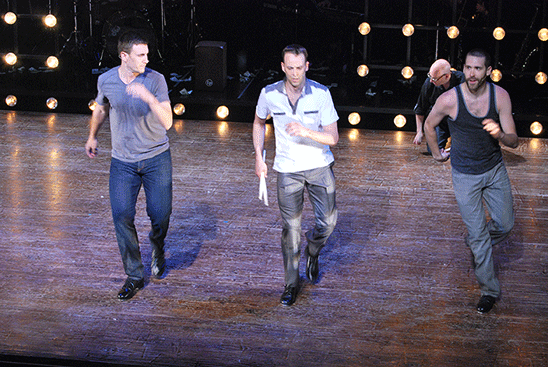 Christopher Erk, Noah Racey, and Anthony J. Russo perform a number from Noah Racey's PULSE. Photo by John Revisky.