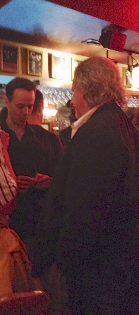 Nate Jacobs, Director of Pulse speaks with Gabriel Barre, Director of The World Goes 'Round at the post party.