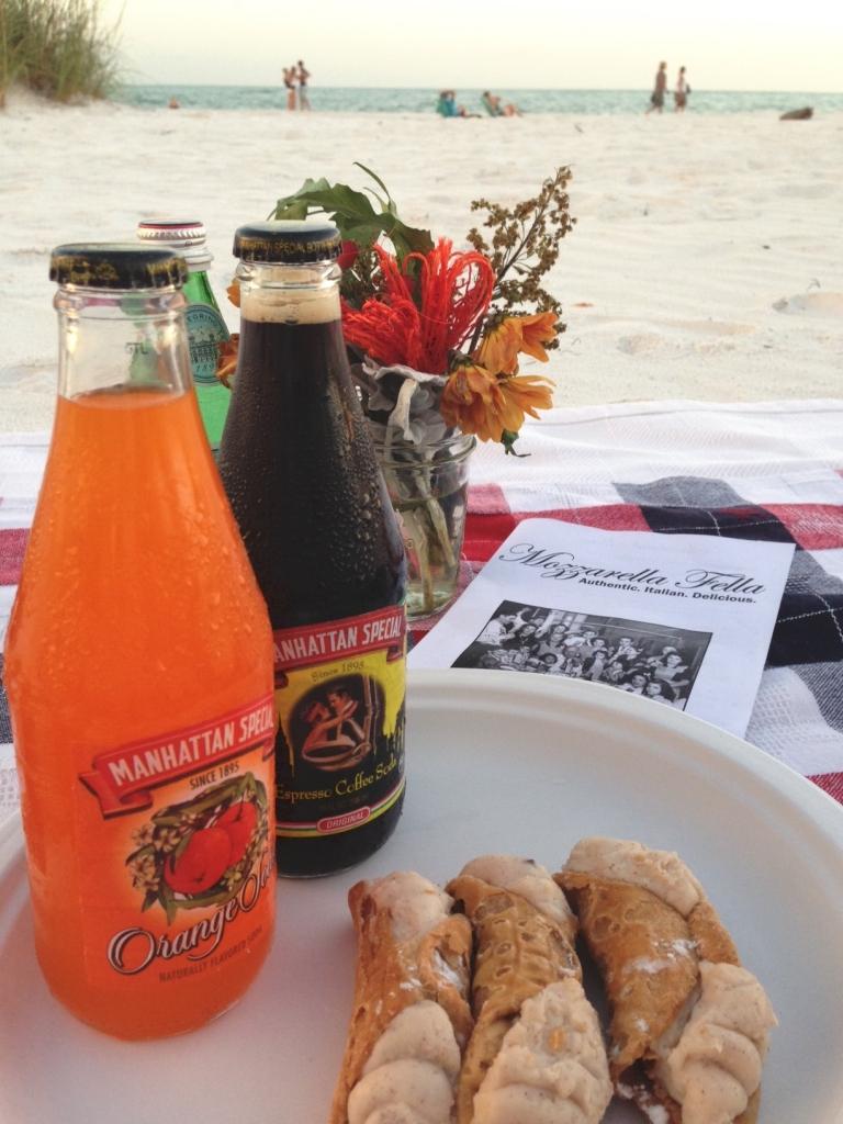Manhattan Special Orange Soda and Coffee Espresso Soda with homemade cannoli for dessert.